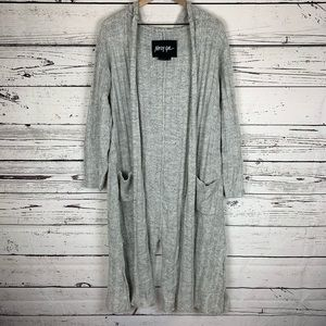 Nasty Gal Gray Hooded Open Knit Long Cardigan